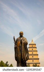 Statue of monk Xuanzang outside Big Wild Goose Pagoda, a UNESCO World Heritage Site, in Xi'an, Shaanxi Providence, China.