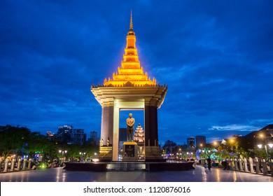 the Statue and Monument of King Norodom Sihanouk at the Sihanouk Bouelvard in the city of Phnom Penh of Cambodia.  Cambodia, Phnom Penh, November, 2017,