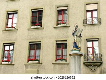 Statue Moses fountain at Münsterplatz in Bern, Switzerland