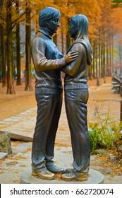 Statue from the movie Winter Sonata 22  November 2012  Nami Island South Korea