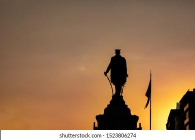 Statue of Mustafa Kemal Ataturk in Ankara of Turkey, October 6, 2019, Silhouette of the world leader,