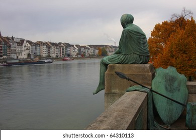 Statue of Mythical Figure Helvetia in Basel, Switzerland