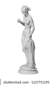 statue of a naked woman on a white background