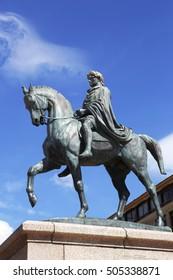 Statue of Napoleon Bonaparte on a horse in Diamant Square, Ajaccio, Corsica, France