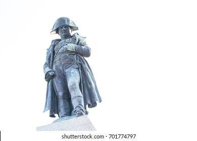 Statue of Napoleon on top of his monument at place d'Austerlitz in his birth city, Ajaccio, Corsica, France