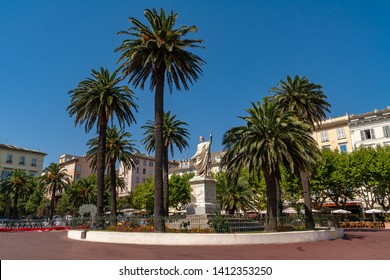 The statue of Napoleon in the Roman style. On the square of Saint Nicholas in Bastia on the island of Corsica. A sought-after tourist destination in the Mediterranean. Sunny day during summer.