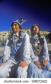 Statue of Native American couple in native garb, East Zion, Utah