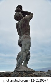 The statue of a native lider in Tenerife, Canary Island
