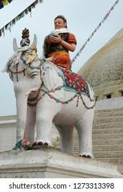 Statue near Bodnath stupa in Nepal, Katmandu