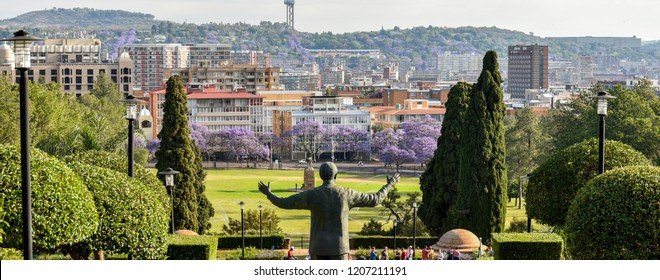 The Statue of Nelson Mandela at the Union Buildings with the view of Pretoria City, South Africa on 17th October 2018