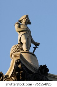 The statue of Nelson on nelson's Column in Trafalgar Square