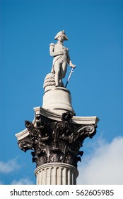 Statue of Nelson on top of Nelson's Column in Trafalgar Square, London, England, UK