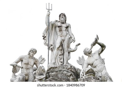 Statue of Neptune fountain at Piazza del Popolo isolated at white background, Rome, Italy