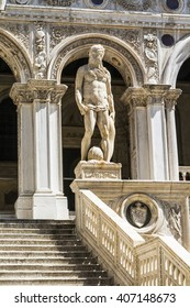 Statue of Neptune on the Giant's Stairway of the Doge's Palace, Venice, Italy