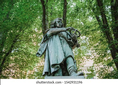Statue of Nicolaus Copernicus  in front of the Jagiellonian University in Krakow, Poland