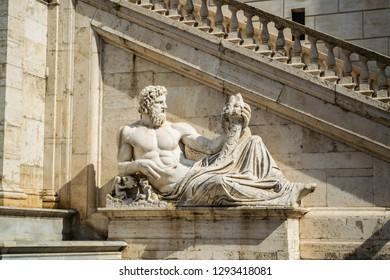 Statue of Nile as a part of the Fonatana della Dea Roma at the Palace of Senators in Rome, Italy