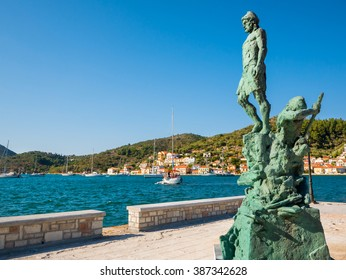 The statue of Odysseus made from bronze at the port of Ithaca island, 29th July 2015, Ithaca Greece