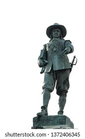 Statue of Oliver Cromwell in his home town St Ives in Cambridgeshire, England. He led the Parliamentarian,puritan, New Model Army to victory over the Royalists of Charles 1st in the English Civil War