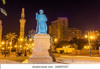 Statue of Omar Makram near the Mosque on Tahrir square in Cairo - Egypt