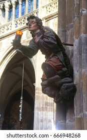 Statue on column in  St Vitus Cathedral,  Prague, Czech Republic