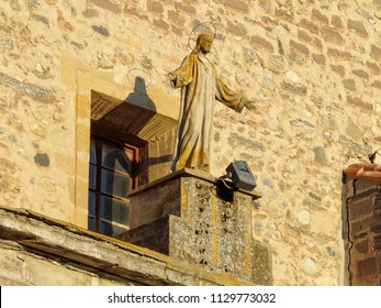 Statue on the facade of the Church of San Pedro on the Main Square (Plaza Mayor) - Belorado, Castile and León, Spain