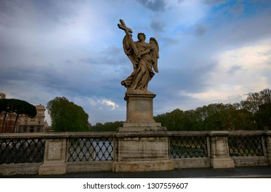 Statue on the Saint Angelo bridge over the Tiber river in Rome, Italy