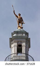 The statue on top of the Rhode Island State Capitol