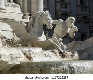 Statue on the Trevi Fountain, the winged horse