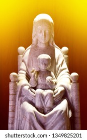 Statue of Our lady and child Jesus catholic church, Thailand. selective focus