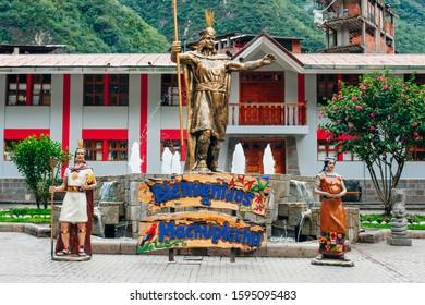 Statue of Pachacuti - Aguas Calientes - Peru, august, 2019