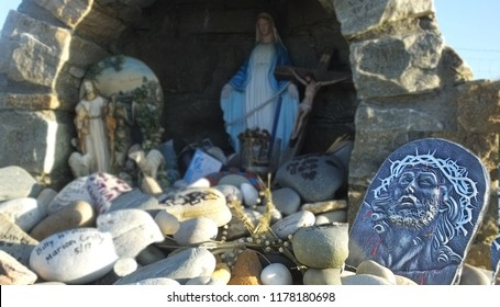 Statue of Padre Pio and Virgin Mary at a Shrine in Mamore Gap Do