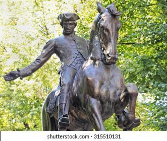 Statue of Paul Revere on Boston's Freedom Trail historic tourist walk