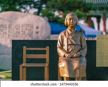 Statue of the Peace Girl built on August 11, 2015 in Jeonju Pungnammun Square, South Korea