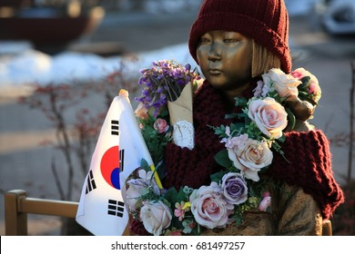 Statue of Peace Girl, Gangneung, Korea-Jan. 2017:It is an emblem symbolizing the damage of the Japanese military comfort women issue. It was first set up in front of the Japanese Embassy Dec.14,2011.