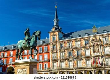 Statue of Philip III on Plaza Mayor in Madrid - Spain.