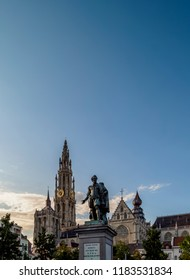 Statue of Pieter Paul Rubens and Cathedral of Our Lady, Groenplaats, Antwerp, Belgium