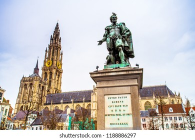 Statue of Pieter Paul Rubens on Groenplaats, Antwerpen (Antwerpen), Belgium