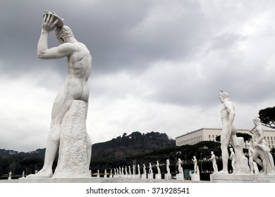 Statue of a pitcher disk in Stadio dei Marmi, Stadium of the Marbles, inside the Foro Italico a sport complex in Rome, Italy