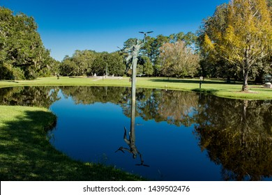 Statue in a Pond with Reflection in Pawleys Island South Carolina