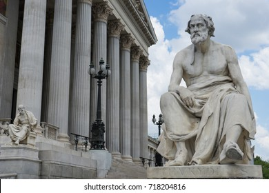 Statue portrait of greek historian Thucydides in front of the austrian parliament in Vienna