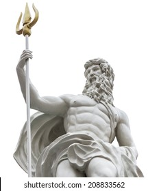 Statue of Poseidon on isolated white background