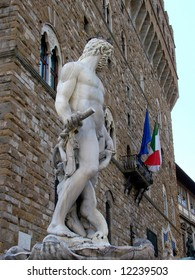 "Statue of Poseidon on top of the Neptune Fountain (Fontana di Nettuno) by Amannati (1565-1575) on Piazza della Signoria in Florence, Italy. Known as ""biancone"" or ""White Giant""."