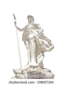 The statue of Poseidonon on isolated white background at venezia hua hin Thailand