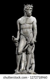 Statue of powerful Neptune in Florence, Italy, isolated at black background
