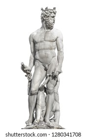 Statue of powerful Neptune in Florence, Italy, isolated at white background