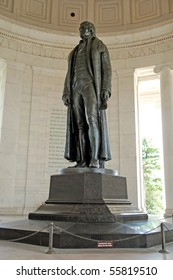 Statue of president Thomas Jefferson at Jefferson Memorial in Washington DC