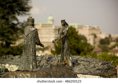 Statue of Prince Buda and Princess Pest in Gellert Hill, Budapest.