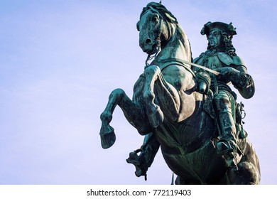 Statue of Prince Eugene of Savoy against the blue sky at Heldenplatz (German: Heroes' Square). Closeup veiw. Public space in front of the Hofburg Palace in Vienna, Austria