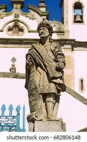 Statue of the prophet sculpted by Aleijadinho in front of the church of the sanctuary of Bom Jesus of Matosinhos at Congonhas, Minas Gerais, Brazil