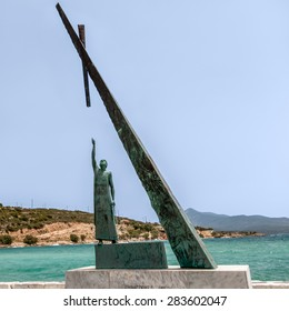 Statue of Pythagoras on Samos Island, Greece. City of Pythagoreon was renamed after ancient Greek philosopher, mathematician and geometer. Statue depicts Pythagorean theorem, his most known creation.